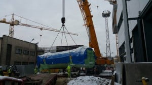 LTM 1250 podczas pracy w montażu elementu w Tychach