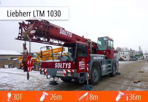 Specyfikacja techniczna jednego z mniejszych żurawi - Liebherra LTM 1030 o udźwigu 30 ton.