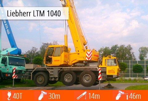 Pełna specyfikacja techniczna żurawia Liebherr LTM 1040 - masa, zasięg, wysięgnik.