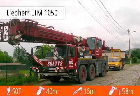 Zobacz pełną specyfikację żurawia Liebherr LTM 1050 - zasięg, udźwig, masę, możliwości pracy.