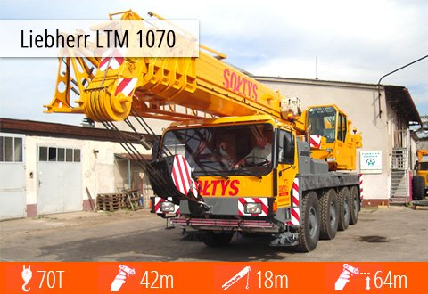 Zdjęcie i pełna specyfikacja techniczna Liebherr LTM 1070 - zasięg, przeciwwaga, praca.