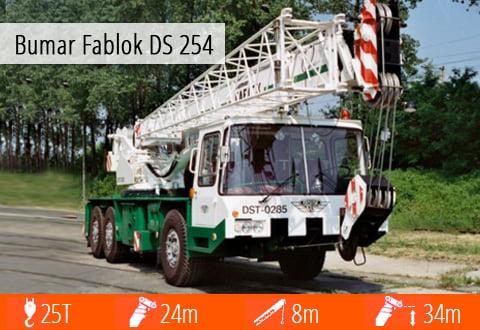 Pełna specyfikacja techniczna żurawia Bumar Fablok DS 254 - zasięg, wysięgnik, masa, udźwig.
