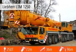 Liebherr 1250 to największy wśród naszych dźwigów - można go wynająć go w Opolu.