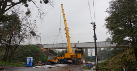 Montaż mostu kolejowego w Warszowicach 10