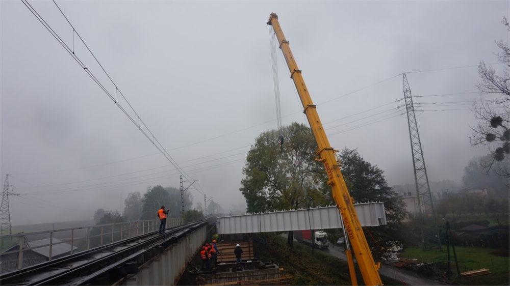 Montaż mostu kolejowego w Warszowicach 3