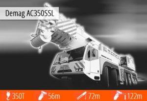 Demag AC350SS to doskonała maszyna, prawdziwy potwór dźwigowy na wynajem o udźwigu 350 ton.